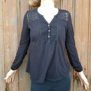 Lucky Brand | lace detail henley top